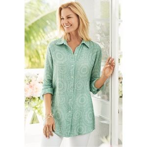 Soft Surroundings Lara Gauze Shirt Size Medium